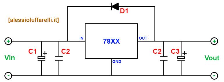 Schema Elettrico Riduttore Di Tensione Da 24v A 12v : Alimentare circuito a v con in my code
